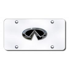 Infinti Logo Chrome on Chrome License Plate
