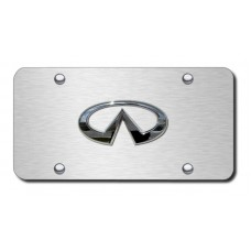 Infinti Logo Chrome on Brushed Steel License Plate