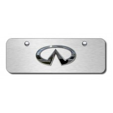 Infinti Logo Chrome on Brushed Steel Mini License Plate