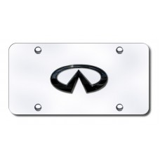 Infinti Logo Chrome No Fill on Chrome License Plate