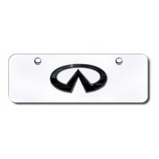 Infinti Logo Chrome No Fill on Chrome Mini License Plate