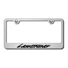 Lightning Brushed Steel Laser Etched License Plate Frame