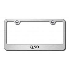 Infiniti Q50 Brushed Steel Laser Etched License Plate Frame