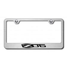 Chevrolet Corvette Z06 Brushed Steel Laser Etched License Plate Frame