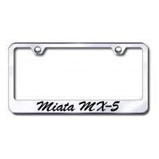 Mazda Miata MX-5 Wide Script Bottom Chrome Laser Etched License Plate Frame