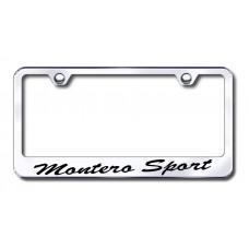 Mitsubishi Montero Sport Wide Script Bottom Chrome Laser Etched License Plate Frame