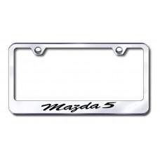 Mazda 5 Wide Script Bottom Chrome Laser Etched License Plate Frame