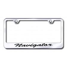 Lincoln Navigator Wide Script Bottom Chrome Laser Etched License Plate Frame