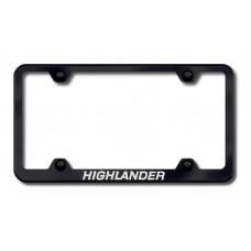 Toyota Highlander Thin Black Laser Etched License Plate Frame