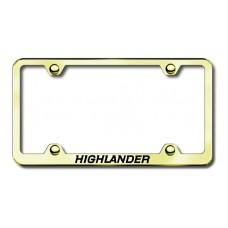 Toyota Highlander Thin Gold Laser Etched License Plate Frame