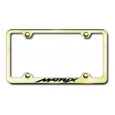 Toyota Matrix Gold Laser Etched License Plate Frame