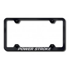 Power Stroke Thin Black Laser Etched License Plate Frame