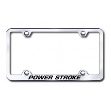 Power Stroke Thin Chrome Laser Etched License Plate Frame