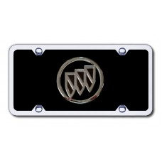 Buick Logo Chrome on Black with Chrome Frame Acrylic License Plate