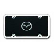 Mazda Logo Chrome on Black with Chrome Frame Acrylic License Plate