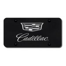Cadillac Logo Chrome on Black License Plate