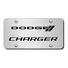 Dodge Charger Black on Brushed Steel License Plate