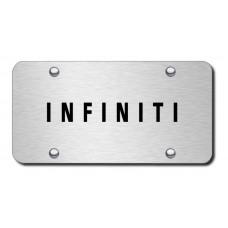 Infiniti Laser Etched Black on Brushed Steel License Plate
