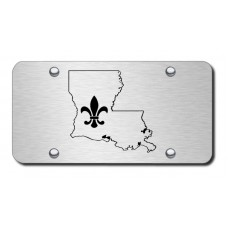 Louisiana Laser Etched Black on Brushed Steel License Plate