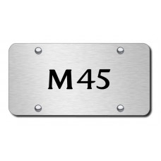 Infiniti M45 Laser Etched Black on Brushed Steel License Plate