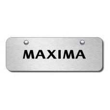 Nissan Maxima Laser Etched Black on Brushed Steel Mini License Plate