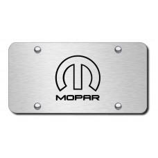 Mopar Laser Etched Black on Brushed Steel License Plate
