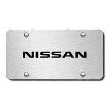 Nissan Laser Etched Black on Brushed Steel License Plate