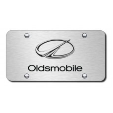Oldsmobile Laser Etched Black on Brushed Steel License Plate