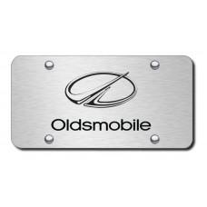 Oldsmobile Laser Etched Black on Brushed Steel License Plate