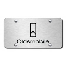 Oldsmobile Logo Laser Etched Black on Brushed Steel License Plate