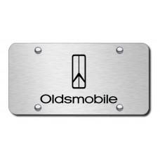 Oldsmobile Logo Laser Etched Black on Brushed Steel License Plate