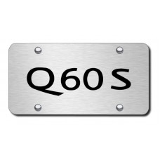 Infiniti Q60S Laser Etched Black on Brushed Steel License Plate