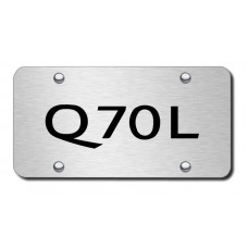 Infiniti Q70L Laser Etched Black on Brushed Steel License Plate
