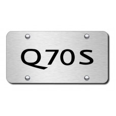 Infiniti Q70S Laser Etched Black on Brushed Steel License Plate