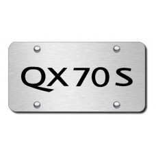 Infiniti QX70S Laser Etched Black on Brushed Steel License Plate