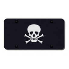 Skull and Crossbones Laser Etched Black License Plate