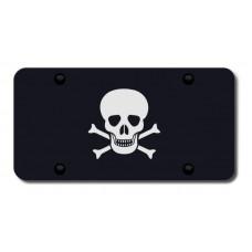 Skull and Crossbones Laser Etched Black License Plate