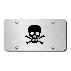 Skull and Crossbones Laser Etched Black on Brushed Steel License Plate