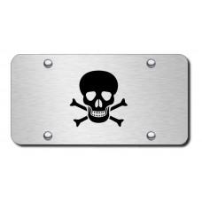 Skull and Crossbones Laser Etched Black on Brushed Steel License Plate