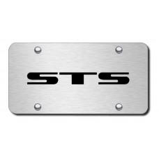 Cadillac STS Laser Etched Black on Brushed Steel License Plate