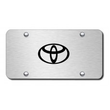 Toyota Logo Laser Etched Black on Brushed Steel License Plate