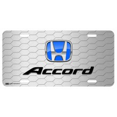 Honda Accord Blue Logo on Grey Hex License Plate