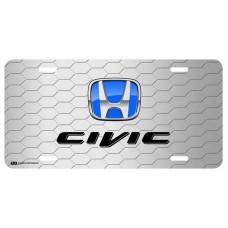 Honda Civic Blue Logo on Grey Hex License Plate