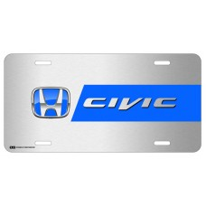 Honda Civic Blue Logo on Brushed Steel License Plate