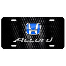 Honda Accord Blue Logo on Black License Plate