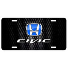 Honda Civic Blue Logo on Black License Plate