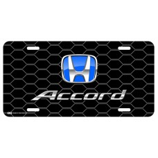 Honda Accord Blue Logo on Black Hex License Plate