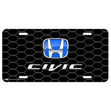 Honda Civic Blue Logo on Black Hex License Plate