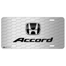Honda Accord Black Logo on Grey Hex License Plate