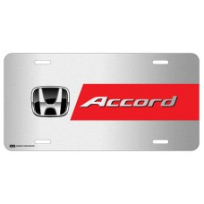 Honda Accord Black Logo with Red Line on Brushed Steel License Plate